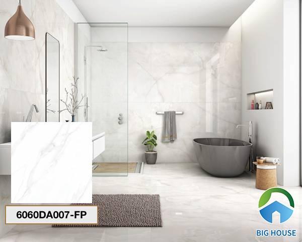 Gạch lát nền nhà tắm màu trắng Đồng Tâm 6060DA007-FP