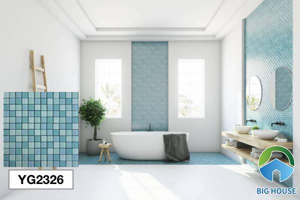 Gạch lát nền nhà tắm màu xanh men giả Mosaic YG2326