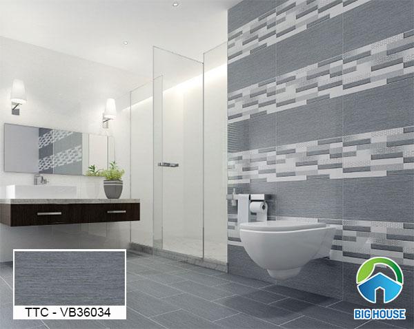 Mẫu gạch lát 30x60 màu ghi xám cho nhà vệ sinh sang trọng