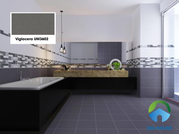 Viglacera UM3602 màu xám trơn lát nền nhà vệ sinh