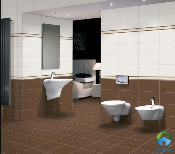 Trang trí phòng tắm bằng gạch tone nâu trầm kết hợp cùng tường màu trắng