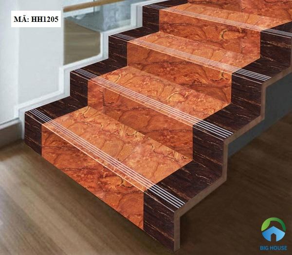 Mẫu gạch giả đá màu cam nâu cho cầu thang