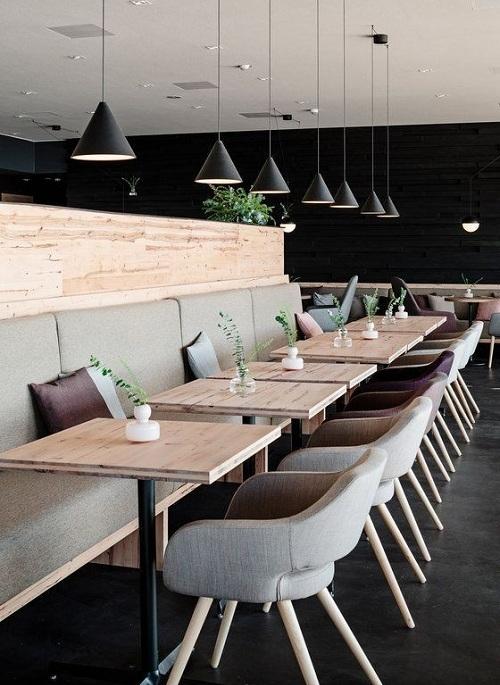 Gạchốp tường quán cafe giả gỗ