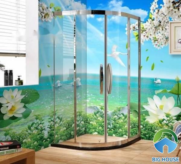 Cách bày trí gạch ốp nhà tắm màu xanh thịnh hành