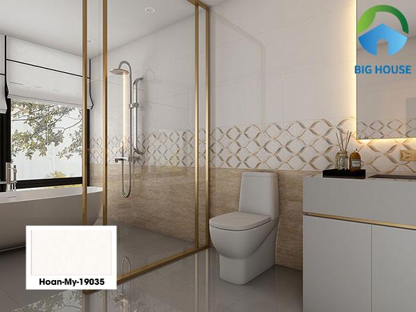 Gạch Hoàn Mỹ 19035 40x80 có men bóng rất phù hợp trang trí tường nhà vệ sinh