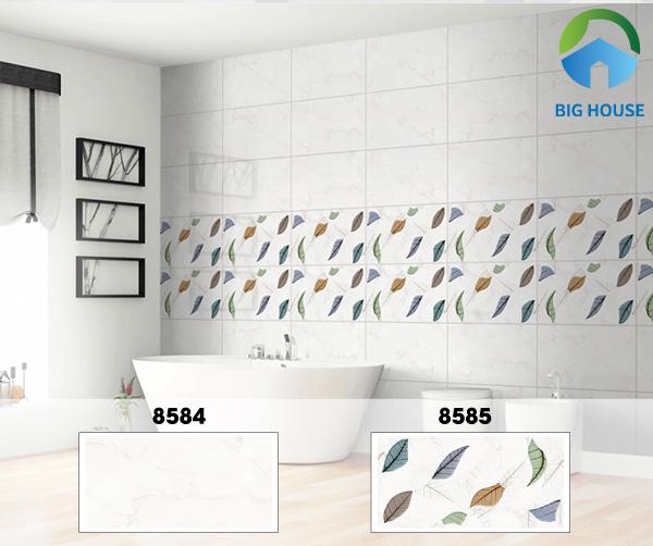 Mẫu gạch Prime 8584 tone trắng vân đá là lựa chọn lý tưởng ốp tường nhà vệ sinh đẹp