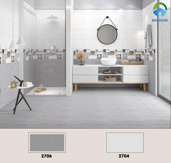 Gợi ý mẫu gạch tone trắng xám ốp tường nhà vệ sinh chống trơn trượt Vitto 2704