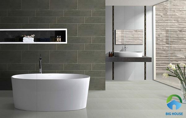Thêm một gợi ý về gạch ốp tường màu xám cho không gian phòng vệ sinh