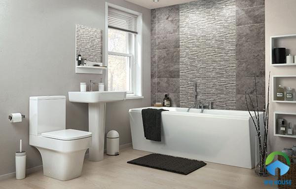 Bạn cũng có thể sử dụng gạch xám men sần ốp tường nhà tắm tạo sự mới lạ cho không gian