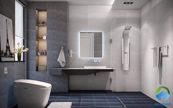 Ốp gạch màu xám một phần của bức tường tạo điểm nhấn cho không gian nhà vệ sinh là một gợi ý hay