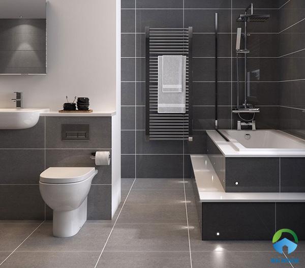 Sử dụng gạch ốp tường xám tone màu trung bình lộ mạch gạch trắng tạo sự khác biệt