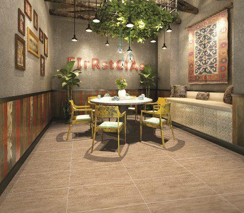 Gạch lát nền quán cafe giả gỗ