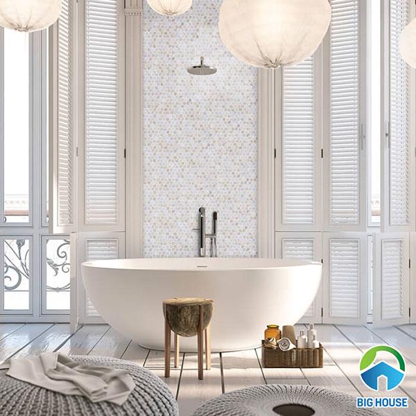 Sử dụng gạch mosaic ốp tường nhà tắm tạo sự Ấn tượng
