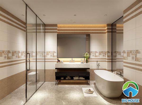 Bộ gạch ốp đậm điểm nhạt ấn tượng cho nhà tắm nên tham khảo!