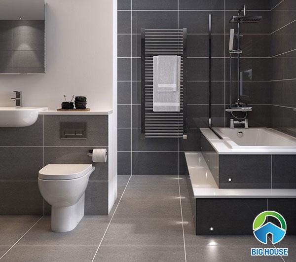 Mẫu gạch bề mặt men bóng gam màu đen, ghi giúp việc vệ sinh dễ dàng