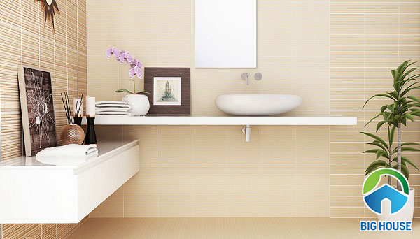 phối màu gạch ốp tường nhà tắm đồng tông