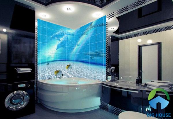 Phòng tắm với tone đen lạnh bỗng bừng sáng nhờ bức tranh biển cả bằng gạch 3D rất bắt mắt