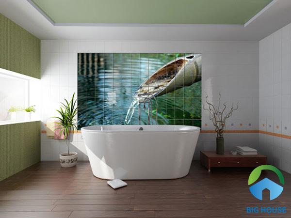 Nhẹ nhàng với bức tranh gạch 3D màu sắc nhã nhẵn. Khung cảnh yên bình với nước chảy róc rách mang đến cảm giác thư giãn