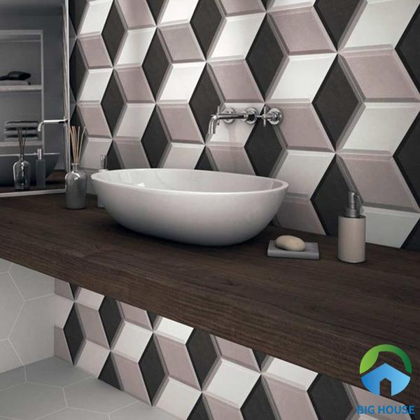 Thêm một mẫu gạch 3D ốp tường phòng tắm tạo ấn tượng mạnh. Mẫu gạch khác lạ này ngay lập tức cuốn hút mọi người từ cái nhìn đầu tiên