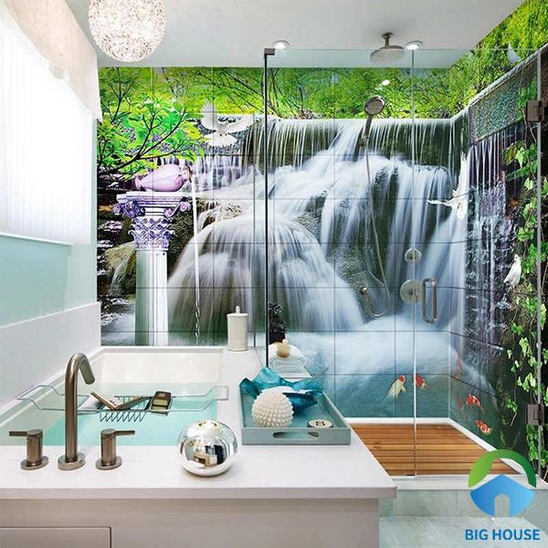 Mẫu gạch tranh 3D suối nước chân thật, sống động. Bước vào phòng tắm, bạn như đang hòa mình với thiên nhiên tận hưởng bầu không khí thoải mái, dễ chịu