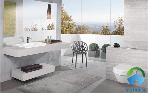 Hoặc cũng có thể lựa chọn tranh gạch 3D tone sur tone với màu sắc chủ đạo của nhà tắm này
