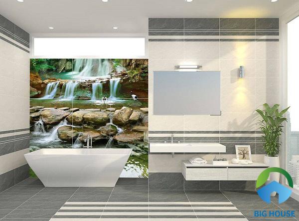 Ấn tượng với nhà tắm sử dụng gạch tranh 3D ốp tường. Bức tranh nhỏ chân thực cuốn hút mọi người nhìn