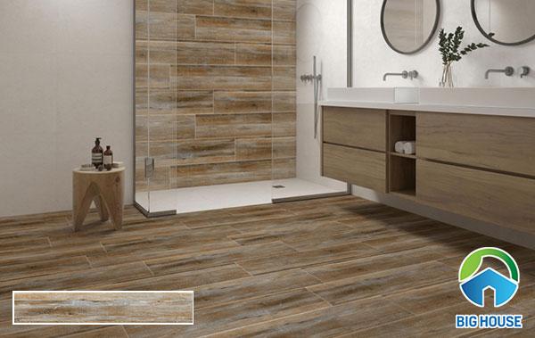 Gạch vân gỗ 08354 kích thước 20x120 trang trí phòng tắm
