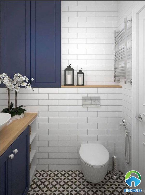 Mẫu gạch thẻ trắng ốp nhà vệ sinh ấn tượng