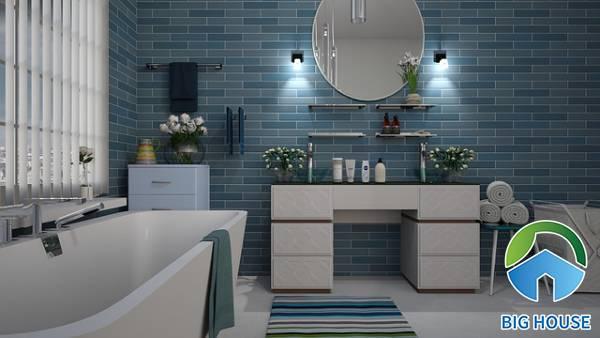 Kinh nghiệm phối gạch ốp nhà tắm màu xanh đạt thẩm mỹ tối đa