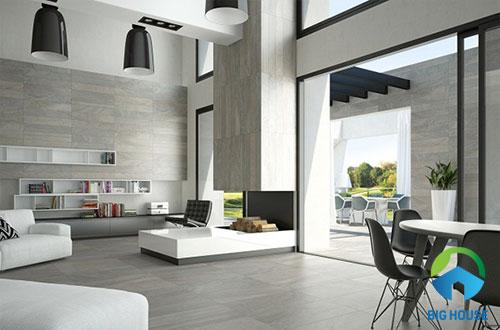 mẫu gạch ốp tường phòng khách giả gỗ