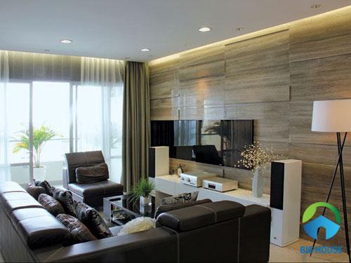 gạch ốp tường phòng khách giả gỗ chất lượng cao