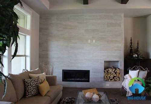 gạch ốp tường phòng khách giả gỗ chất lượng