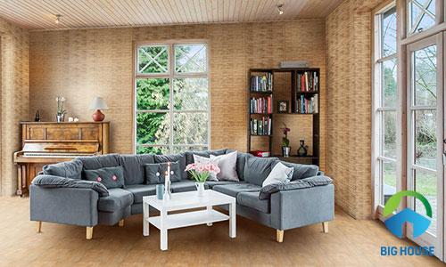 mẫu gạch ốp tường phòng khách giả gỗ đẹp