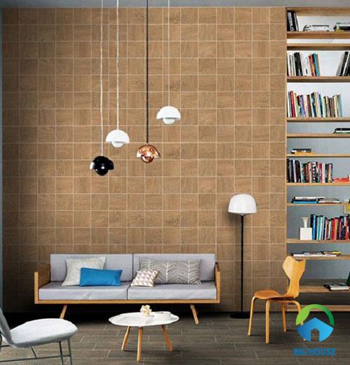 gạch ốp tường phòng khách giả gỗ