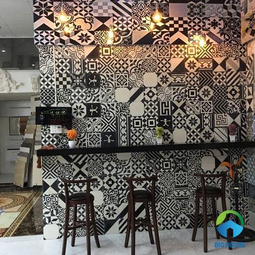 mẫu gạch ốp tường quán cafe