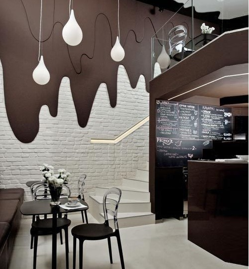 Gạch thẻ trắng ốp tường quán cafe
