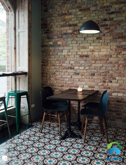 gạch ốp tường quán cafe