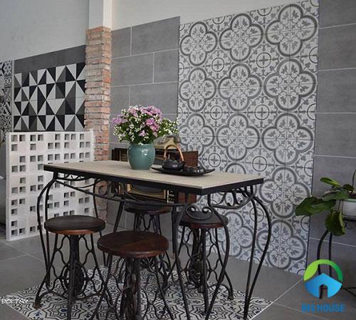 mẫu gạch ốp tường quán cafe đẹp mắt