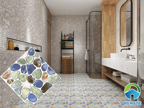 Gạch sỏi lát nền nhà tắm ấn tượng