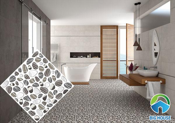 Gạch sỏi lát nền nhà tắm màu xám trắng
