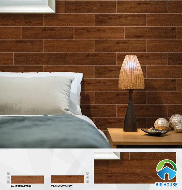 Gạch thẻ giả gỗ ốp so le cho phòng ngủ tạo sự khác biệt