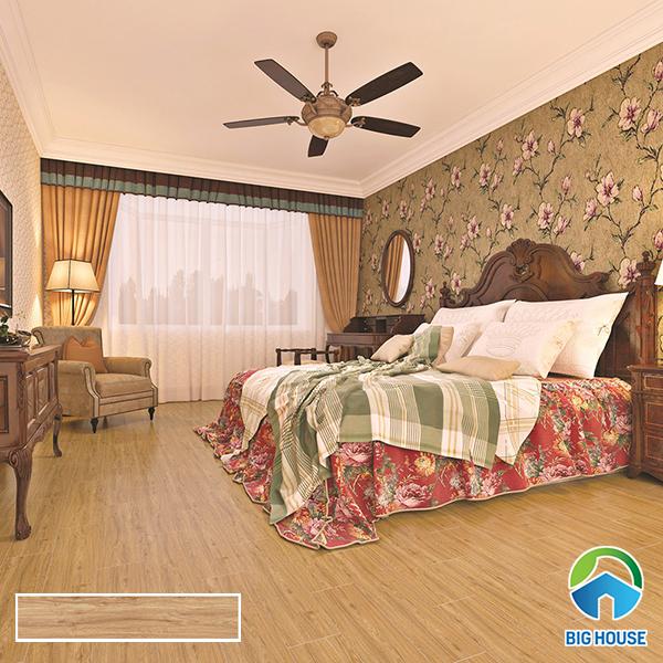 Phòng ngủ sử dụng gạch màu nâu trầm mang đến sự ấm áp