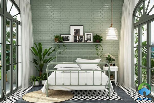 Phòng ngủ nhẹ nhàng cùng gạch thẻ ốp tường màu xanh