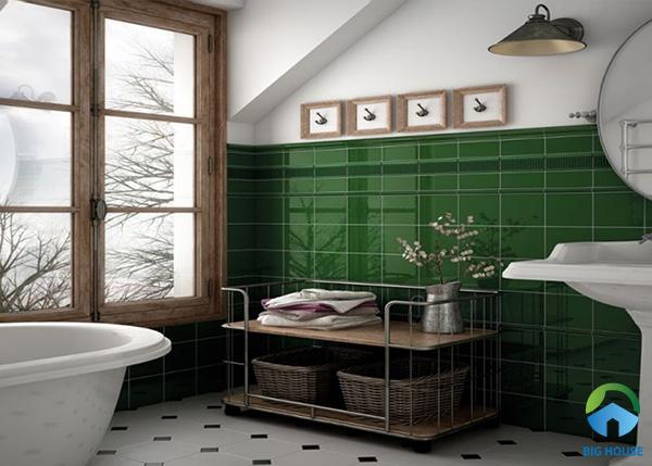Đây cũng là một gợi ý hay về cách chọn lựa gạch thẻ tone màu xanh ốp tường nhà tắm