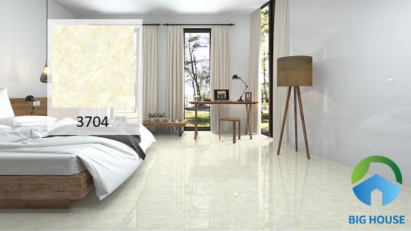 Gạch Vitto mã 3704 50x50 rất thích hợp lát nền phòng ngủ. Bởi tone màu vàng kem này mang lại cảm giác ấm cúng, gần gũi. Từ đó giúp gia chủ cảm thấy thoải mái hơn trong ngôi nhà của mình. Ngoài ra, chúng còn gián tiếp giúp cải thiện giấc ngủ tốt hơn