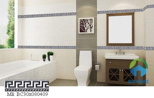 Gạch viền điểm tạo lên những đường biên bao quanh nhà tắm đẹp mắt