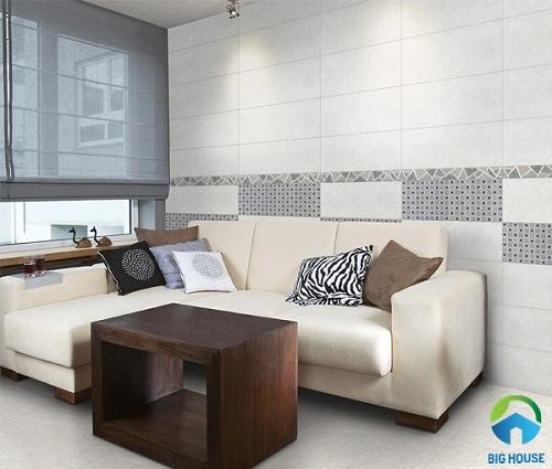 Gạch viền họa tiết giả đá tạo điểm nhấn đặc biệt cho phòng khách