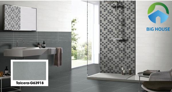 Mẫu gạch Taicera G63918 màu xám đậm ốp tường nhưng không hề u tối. Bởi có sự kết hợp với mẫu gạch trắng ốp ngang. Kèm theo đó là một mảng tường với gạch mosaic màu đậm nhạt giúp căn phòng nổi bật hơn