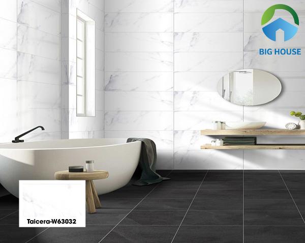Sử dụng gạch Taicera W63032 vân đá trắng tương phản gạch lát nền màu đen mang vẻ đẹp thanh lịch và hiện đại. Bạn sẽ bị hút hồn ngay từ cái nhìn đầu tiên