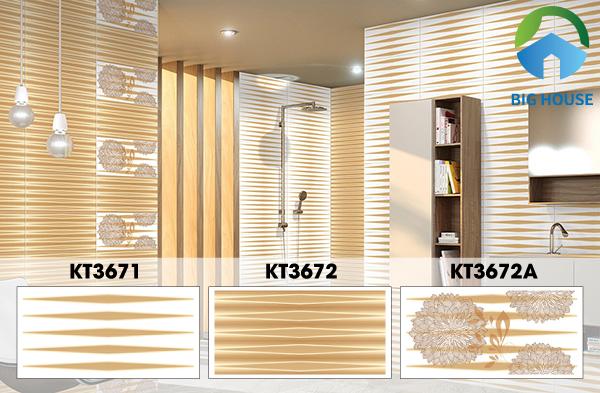 Bộ ba gạch ốp tường của Viglacera KT3671 - KT3672 - KT3672A là gợi ý không tồi. Nó tạo cảm giác không gian có chiều sâu và hấp thụ ánh sáng tốt. Phòng tắm trở nên lấp lánh rất đẹp. Đồng thời, sử dụng một số viên gạch họa tiết hoa cẩm tú cầu tạo điểm nhấn